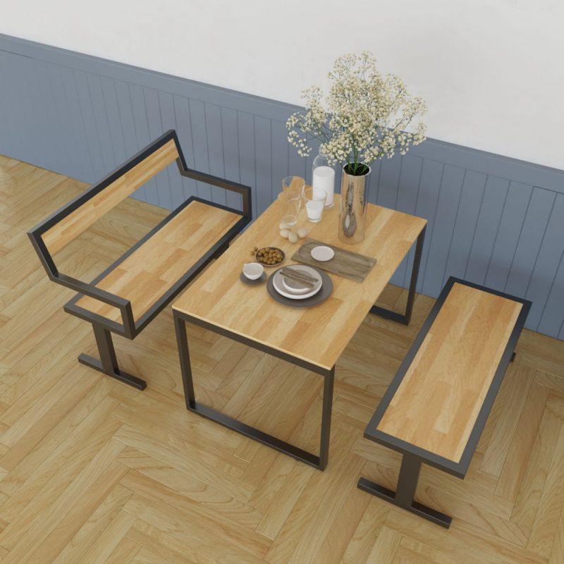 Bộ bàn ăn gỗ cao su