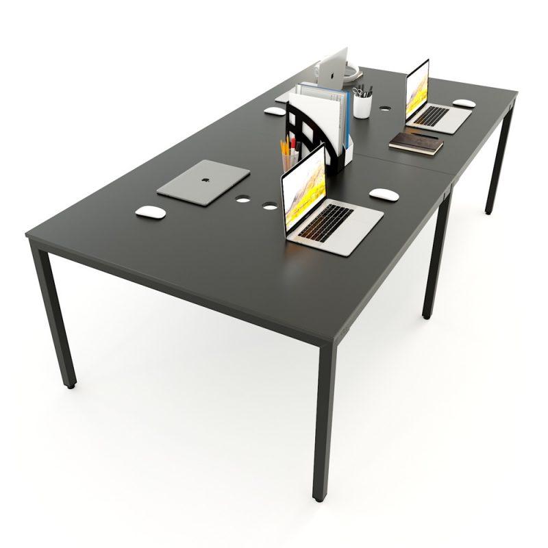 bàn cụm 4 chỗ chân sắt lắp ghép