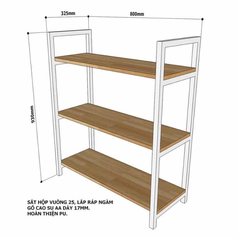 kệ gỗ khung sắt 3 tầng