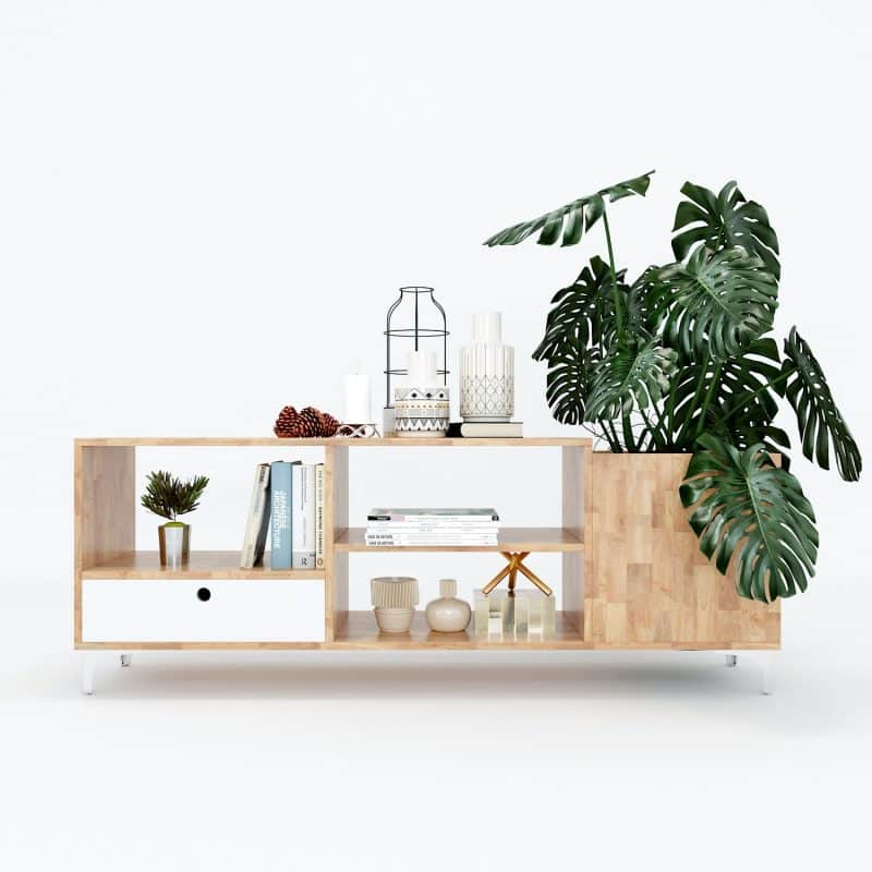 kệ tivi gỗ cao su hiện đại