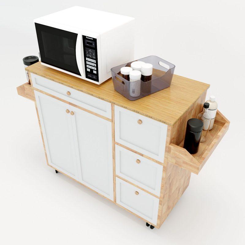 kệ bếp di động gỗ cao su